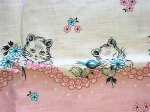 Vintage Kitty Cat Border Print Cotton Feed Sack Fabric