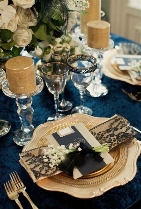 navy blue and gold wedding decorations sang maestro