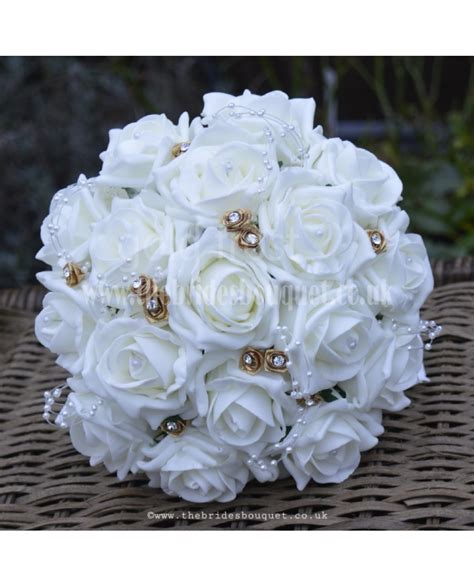 gold frost bridal bouquets white red  ivory rose