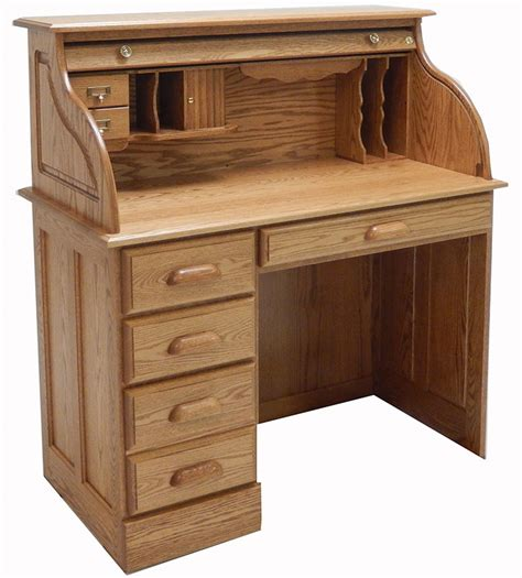wooden roll top desk solid oak single pedestal roll top desk