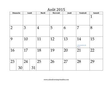 calendrier pour aout