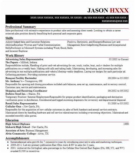 Advertising Sales Resume by Advertising Sales Representative Resume Sle Livecareer