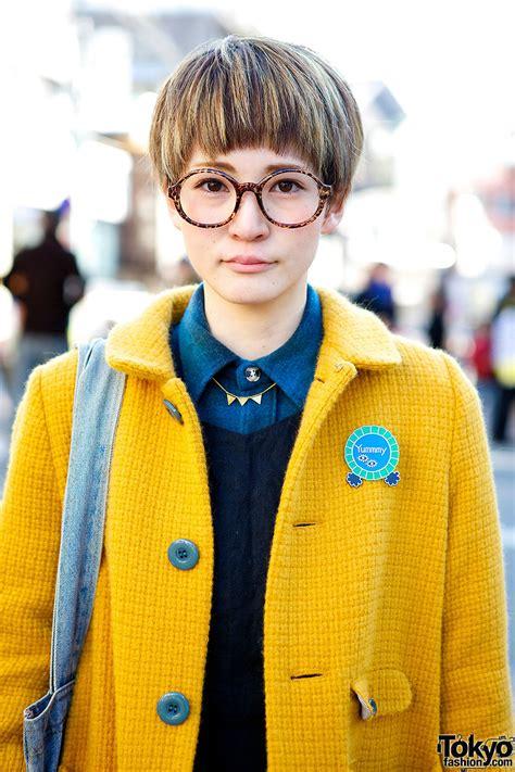 Cute Pixie Cut, Round Glasses & Didizizi Mustard Coat in