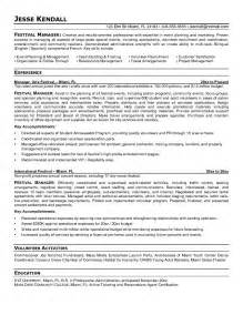 resumes for event management exle festival manager resume free sle