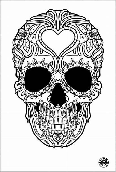 Coloring Tattoo Skull Adult Simple Pages Tattoos