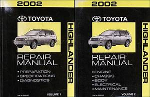 2002 Toyota Highlander Service Shop Repair Manual Set 2 Volume Set And The Wiring Diagrams Manual