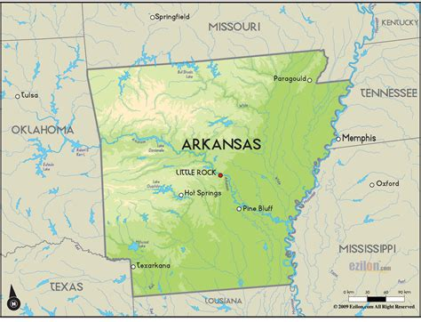 geographical map  arkansas  arkansas geographical maps