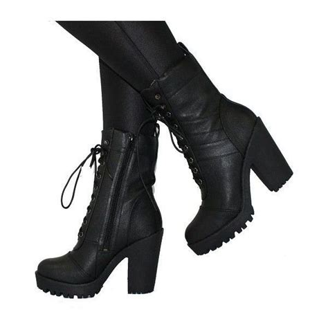 high heeled combat boots polyvore featuring shoes