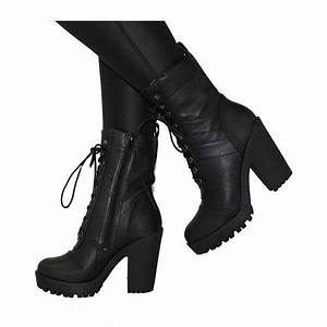 High heeled combat boots via Polyvore featuring shoes boots ankle booties military boots ...