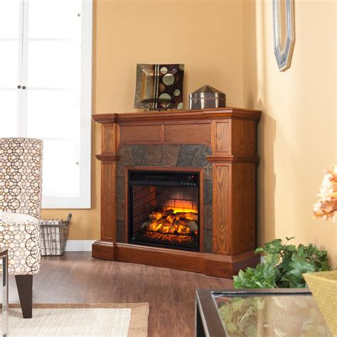 ithaca    faux stacked stone electric fireplace