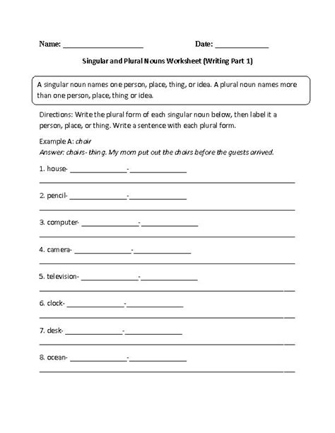 singular and plural nouns worksheet writing part 1 intermediate englishlinx com board plural