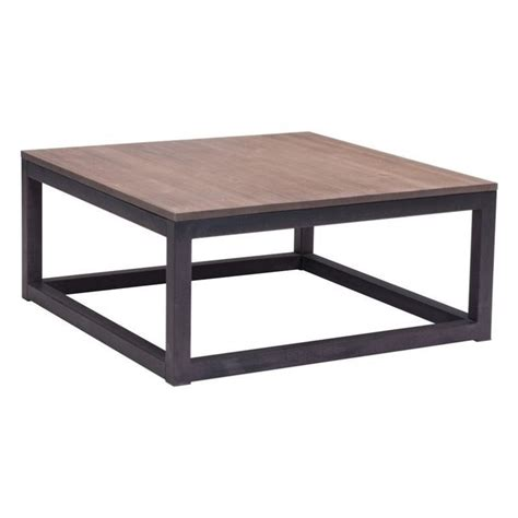distressed square coffee table zuo civic center square distressed natural coffee table ebay
