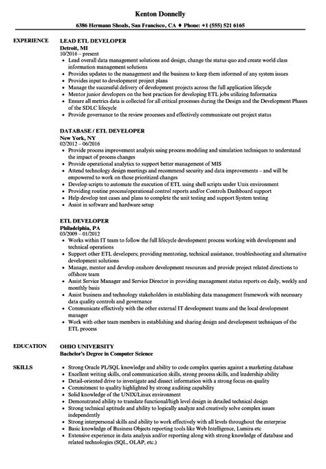 Etl Developer Resume Samples  Velvet Jobs. Free Sample Resume Templates Downloadable. Excellent Customer Service Skills Resume. What Is Resume Headline Example. Shuttle Driver Resume