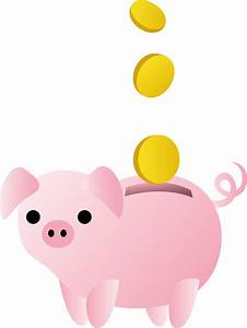 Piggy Bank With Coins - Free Clip Art