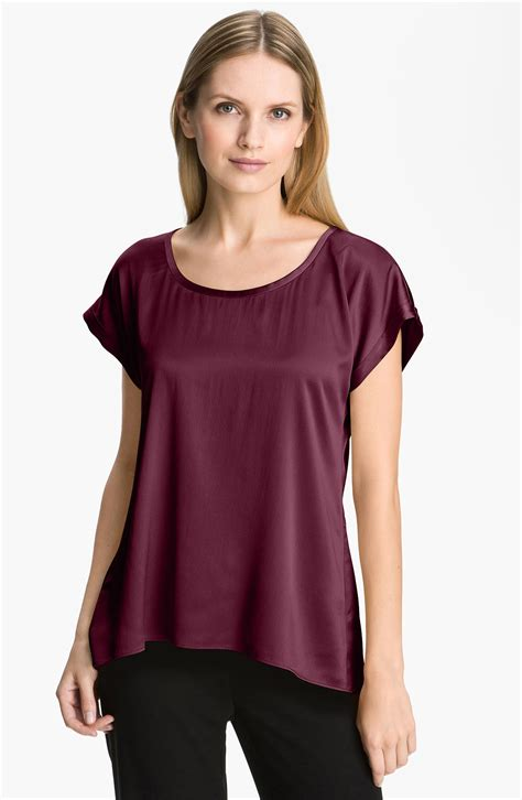 silk charmeuse blouse eileen fisher stretch silk charmeuse blouse in purple