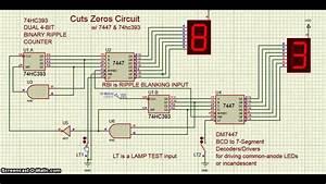 Proteus - Ic 7447   Ic 74hc393 - Cuts Zeros Circuit