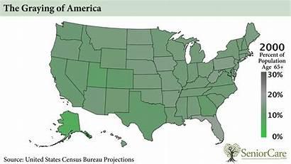 America Population Aging Graying Senior States United