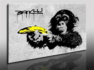 Leinwandbilder org Banksy Street Art Monkey Banana Leinwand Bild fertig gerahmt