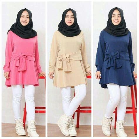 gamis wanita babat gambar model baju muslim terbaru modern bentuk tunik modis