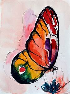 Rainbow Butterfly watercolor painting original artwork.