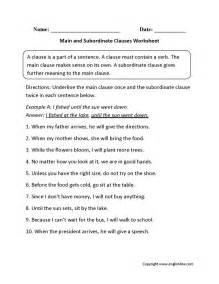 main and subordinate clauses worksheet english