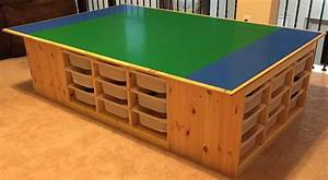 The Lego table goes awesome! Uses 4 IKEA's TROFAST frames