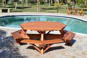 woodwork wooden picnic table plans octagon  plans