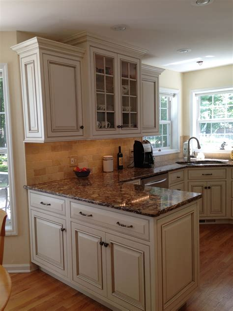 custom inset door cabinets  antique white  glaze