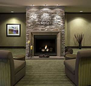 Furniture living room with brick fireplace