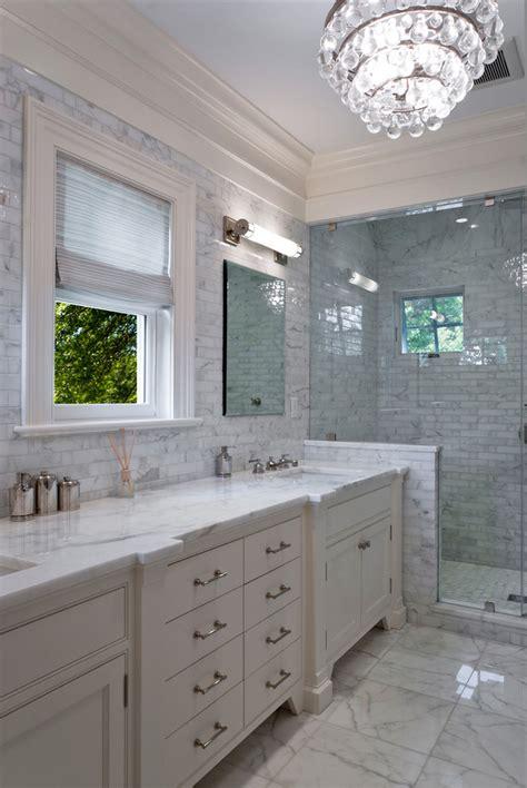 carrara marble subway tile bathroom contemporary with