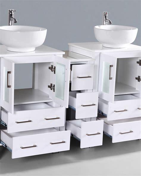 round vessel sink vanity white 60in double round vessel sink vanity by bosconi