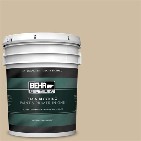 behr ultra 5 gal ppu8 10 rye bread gloss enamel exterior paint and primer in one 585405