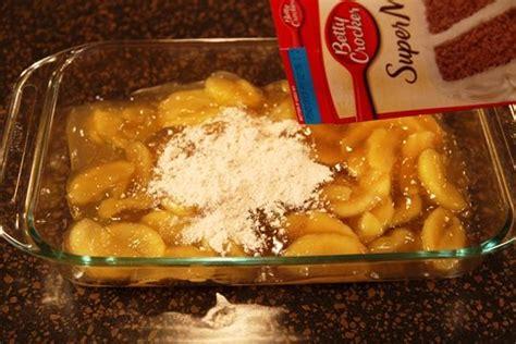 pour apple pie filling  pan  top  cake mix