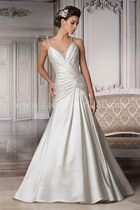 Strapless mermaid satin wedding dress with ruching and for Wedding dress ruching
