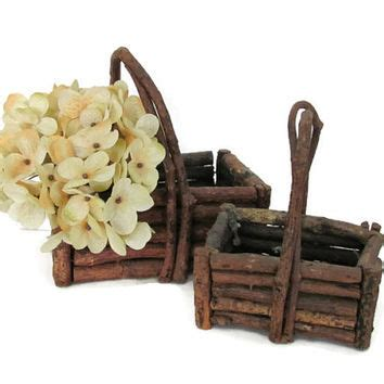 Vintage Twig Baskets Rustic Stick From Thirsty Owl