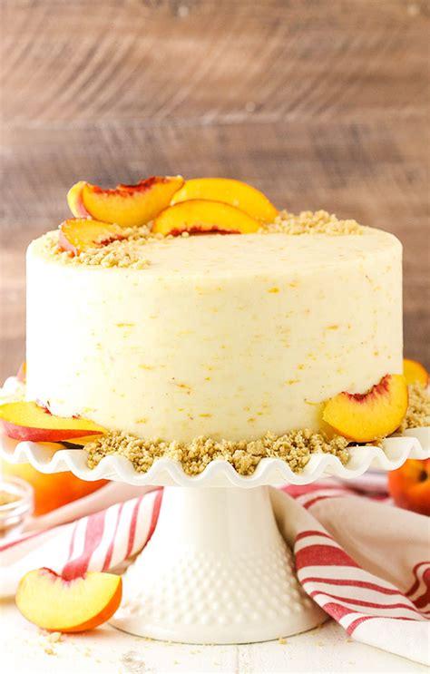 brown sugar layer cake  peach filling peach dessert recipe