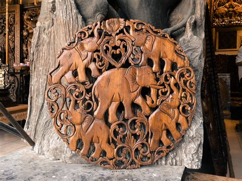 Buy Thai Wood Carving Wall Art Panel Asian Home Decor Online: Buy Feng Shui Elephants Hand Carved Wooden Wall Art Panel