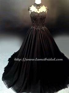 gothic style black high neck wedding bridal dress ball With black formal dress for wedding