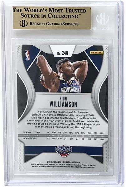 Rookie cards, autographs and more. Lot Detail - Zion Williamson 2019-20 Panini Prizm #248 Rookie Card - BGS Graded PRISTINE 10!
