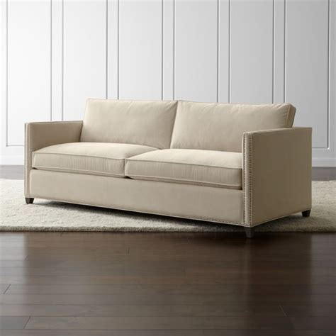 crate and barrel settee dryden velvet sofa with nailheads crate and barrel
