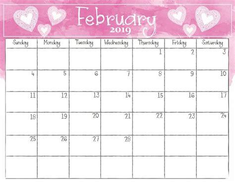 Calendar Template 2019 February 2019 Free Calendar Template