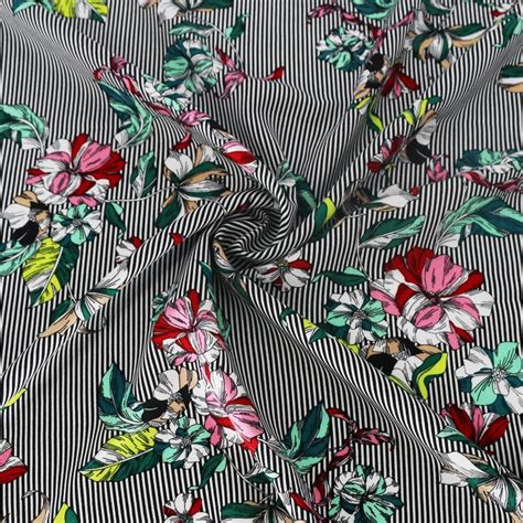 cm thin stripe floral patchwork material sewing