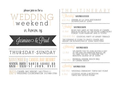 itinerary template  wedding guests