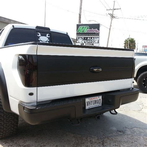 flat black front valance and tailgate wrap on ford r