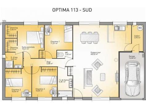 maison 3 chambres plain pied plan maison plain pied 3 chambres 110m2