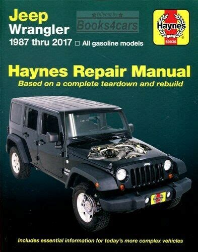 car repair manuals online pdf 1992 jeep wrangler spare parts catalogs wrangler shop manual service repair book haynes chilton workshop guide restore ebay