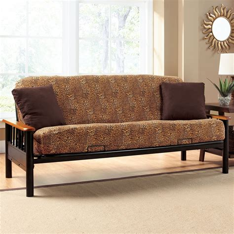 Futon Slipcover by Wonderful Futon Slipcover With 2 Brown Cushions Futons