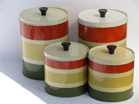 Vintage Metal Kitchen Canisters by 60s Vintage Striped Metal Kitchen Canisters Retro
