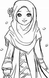 Coloring Muslim Pages Islamic Drawing Hijab Cartoon Printable Islam Colouring Anime Muslimah Gambar Sheets Princess Kartun Sketches Wears Drawings Sheet sketch template