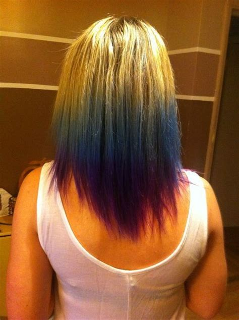 Short Blonde Hair With Blue And Purple Tips Purple